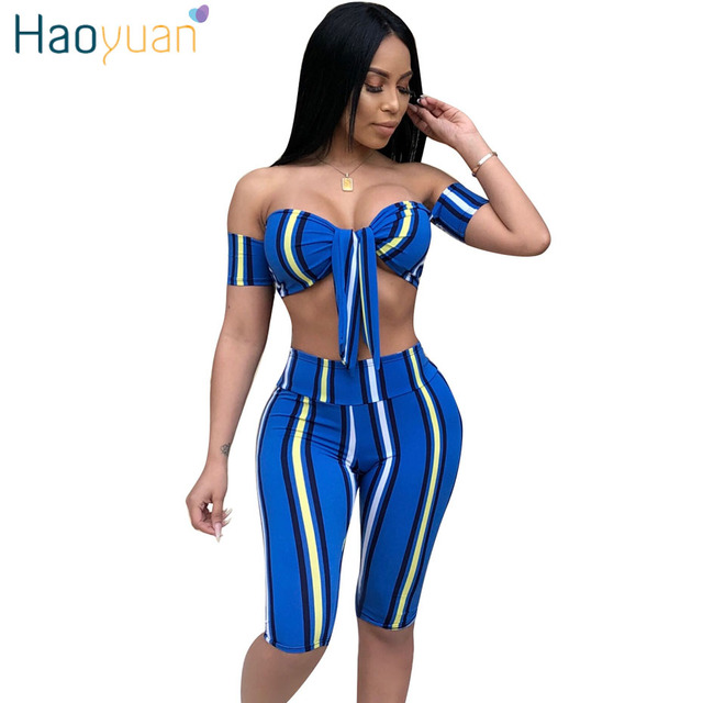 7c0fdd10ee8 HAOYUAN Sexy 2 Piece Set Women Striped Print Off Shoulder Crop Tops+Bodycon  Shorts Suit Summer Outfits Two Piece Matching Sets