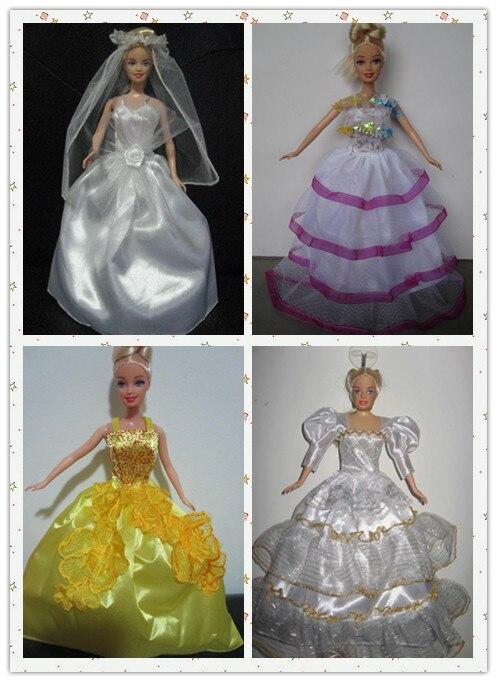 Wholesale Free Shipping Doll Accessories Beautiful Elegant Wedding Dresses Yarn Cloth Evening Dresses For Barbies 10Pcs/lot