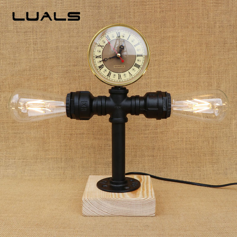 все цены на Loft Retro Table Lamp Water Pipes Desk Light Contain LED Bulbs Cafe Bar Table Light Industrial Style mesa Art Deco Lighting