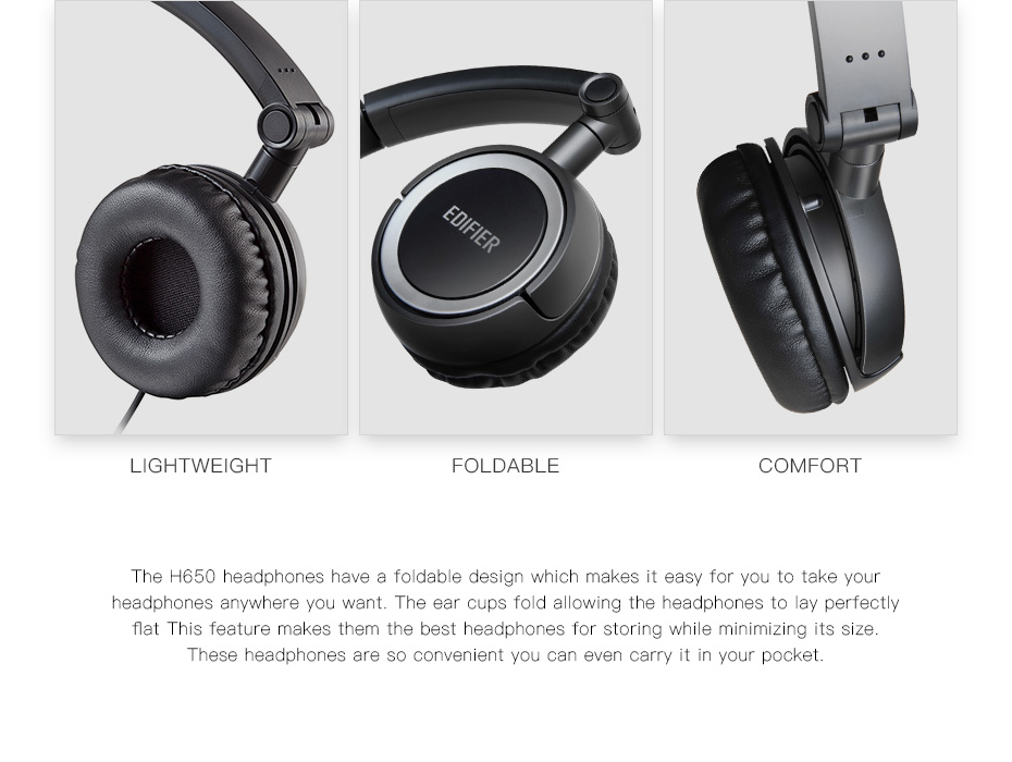 Edifier H650 Foldable Headphones Noise Canceling HiFi Earphone Headset With Non-tangling Wire 40mm with 6 Colors 10