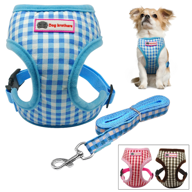 Cute Grid Pet Puppy Dog Harness Leash Set Walking Dog Vest Pink  Blue For Small Dogs Chihuahua Yorkie S M L