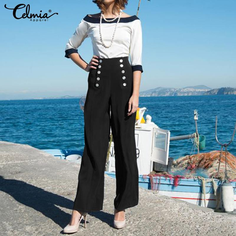 Women High Waist   Pants   Celmia 2019 Female Bottoms Casual Loose Straight Long Trousers Stretchy Office Ladies   Wide     Leg     Pants   5XL