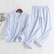 New Ladies Pajamas Woman Striped Long Sleep Nightgown Suit Home Furnishing Pajamas 100% Cotton Spring And Autumn Casual Nighty