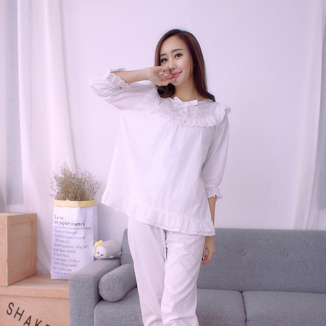 Primavera doce princesa coreano senhoras pijama de algodão de manga comprida de algodão usam roupas em mobiliário doméstico pijama