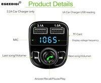 EGEEDIGI Car MP3 Audio Player Bluetooth Car Kit FM Transmitter Handsfree Calling 5V 4.1A Dual USB Car Charger Phone Charger