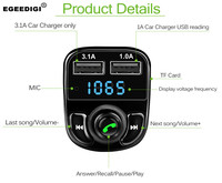EGEEDIGI Car MP3 Audio Player Bluetooth Car Kit FM Transmitter Handsfree Calling 5V 4.1A Dual USB Car Charger Phone Charger