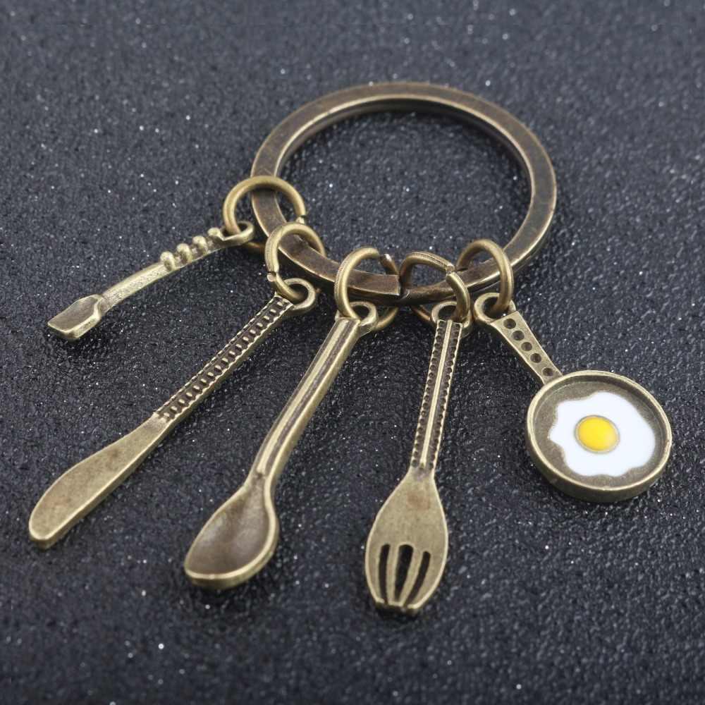 Rongji đồ trang sức Sáng Tạo Dụng Cụ Nhà Bếp Đầu Bếp Món Quà Lưu Niệm Keychain Đồng Súp Spoon Knife Fork Pan Trứng cha mẹ món quà