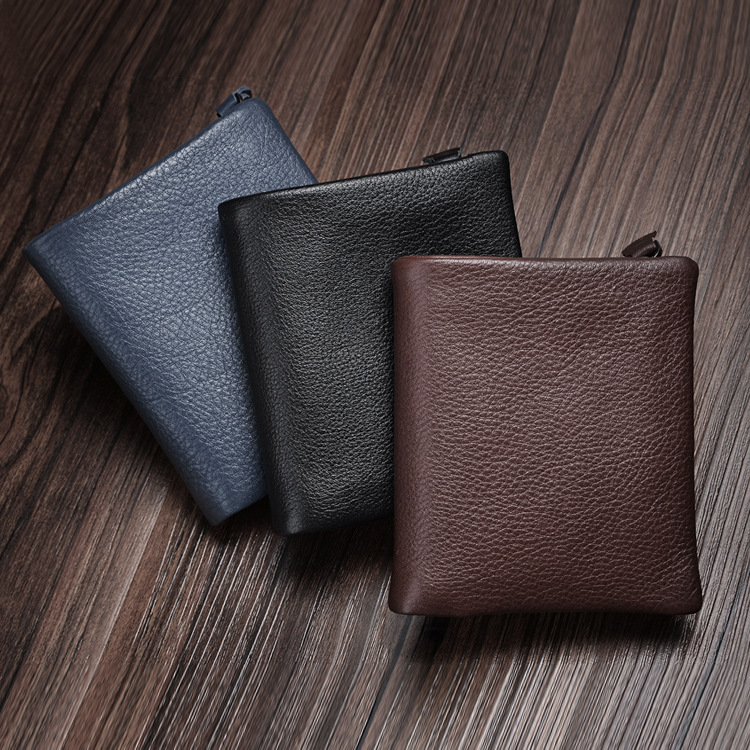 Genuine Leather Men Wallet Coin Purse PORTFOLIO Man Walet Zipper Design Male Clutch Fashion Card Holder Money Bag Purse