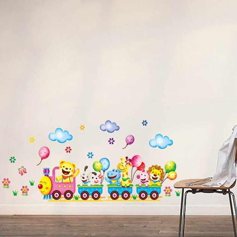 Train de bande dessinée Sticker Mural pour Chambre D'enfants Home Decor Mur de Crèche de Décalque Poster Enfants Bébé Maison Murale BRICOLAGE Décoration Autocollants