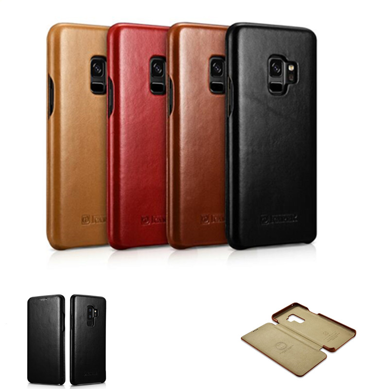 Image 4 - iCarer for Samsung Galaxy S10 S10  S9 S9  Plus Note8 Note 9  Curved Edge Vintage Series Genuine Leather Casefor samsung  galaxyleather casecase leather