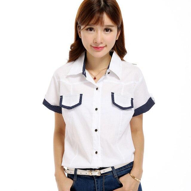 Delle donne clothing manica corta camicia in popeline dot camicette di  colore di contrasto abbigliamento di 9c2680bb1e8