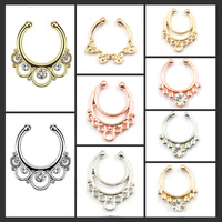 1pcs Mixed Hoop Nose Rings Alloy Rose Gold And Silver Faux Septum Ring Fake Nose Piercing