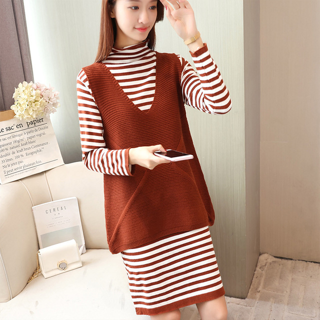 Womens Turtleneck Pullover Dress With Knitted Stripe Sweater Vest
