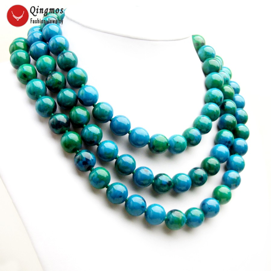Qingmos Trendy Green Chrysocolla Necklace for Women with 3 Strands 14mm Round Chrysocolla Stone Necklace Jewelry 17-19 nec6508Qingmos Trendy Green Chrysocolla Necklace for Women with 3 Strands 14mm Round Chrysocolla Stone Necklace Jewelry 17-19 nec6508