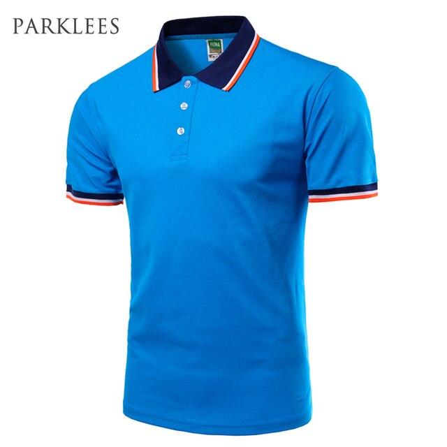 Brand Blue Polo Men Short Sleeve 2017 Mens Summer Fashion Solid