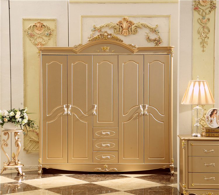 US $762.0 |Antique Solid Wood Wardrobe Design Wooden Bedroom Furniture 5  doors Closet Cabinets-in Wardrobes from Furniture on AliExpress