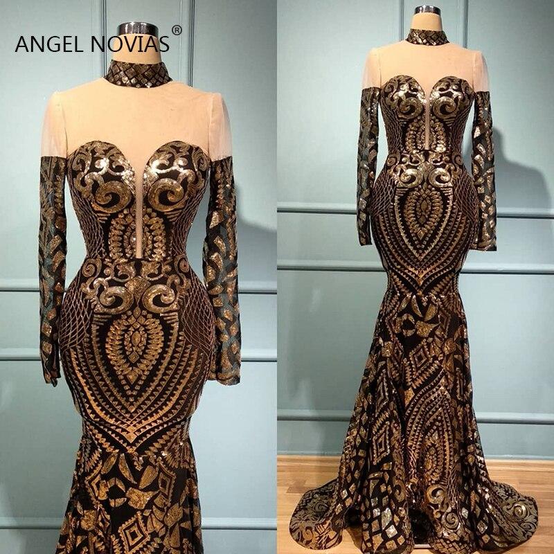 Manches longues sirène col haut noir et or dentelle paillettes arabe Abendkleider robe de soirée 2019 robes de bal