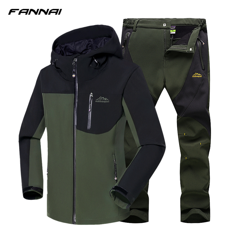 2018 Men Winter Hiking Jacket Waterproof Fishing Skiing Warm Softshell Heated Fleece Outdoor Trekking Camping Jacket Set + Pants2018 Men Winter Hiking Jacket Waterproof Fishing Skiing Warm Softshell Heated Fleece Outdoor Trekking Camping Jacket Set + Pants