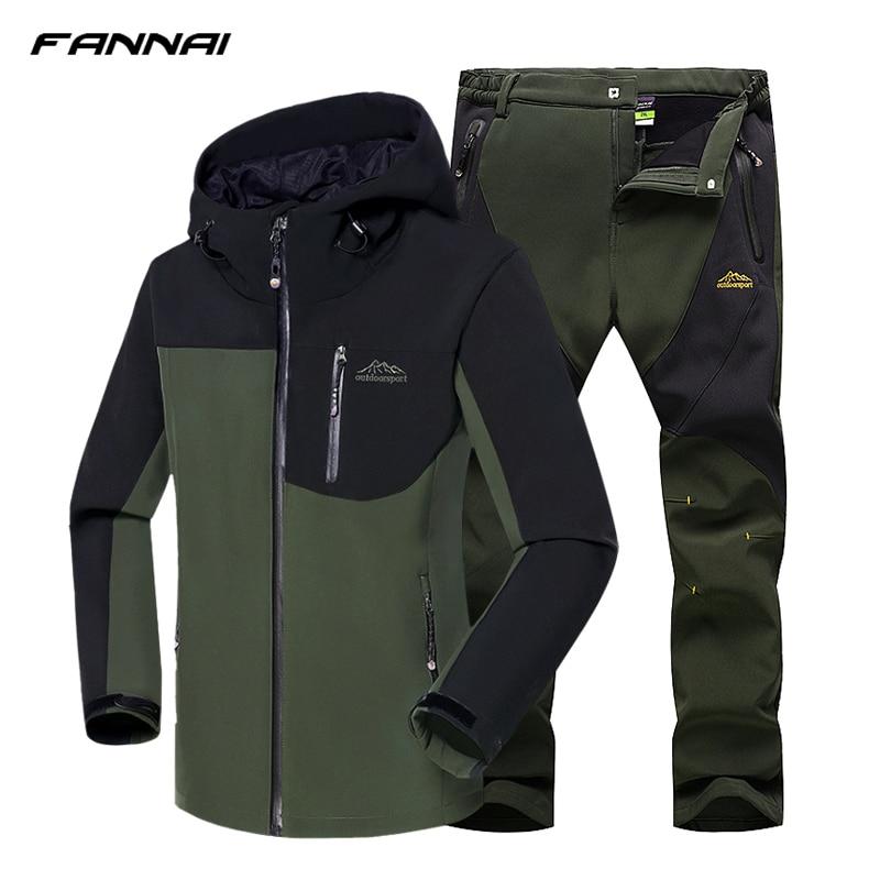 2018 Men Winter Hiking Jacket Waterproof Fishing Skiing Warm Softshell Heated Fleece Outdoor Trekking Camping Jacket Set + Pants