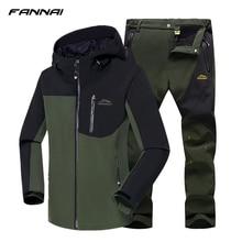 2019 Winter Hiking Jacket Men Waterproof Fishing Skiing Warm Softshell Heated Fleece Outdoor Trekking Camping Jacket Set Pants недорого