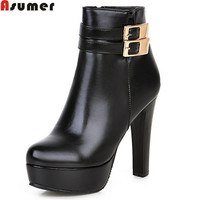 Asumer 2017 Hot Sale New Arrive Women Boots Fashion Zipper Buckle Ladies Boots Platform Solid Color
