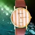 2016 Nueva Moda y Raya Casual GINEBRA Relojes Mujeres Vestido Reloj Reloj Elegante de Las Mujeres Ocasionales de Cuarzo Reloj Relojes orologio da polso