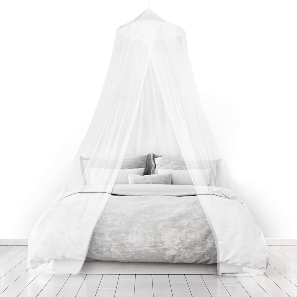 White Hung Dome Canopy Mosquito Net For Single Door Bed
