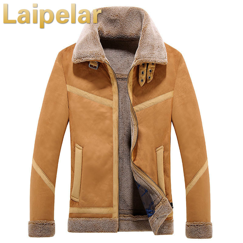 2018 Men Winter Jacket Leather Lamb Fur Coat Jacket Windbreaker Men Turndown Collar Suede Coat Laipelar Trend Brand Men Fashion