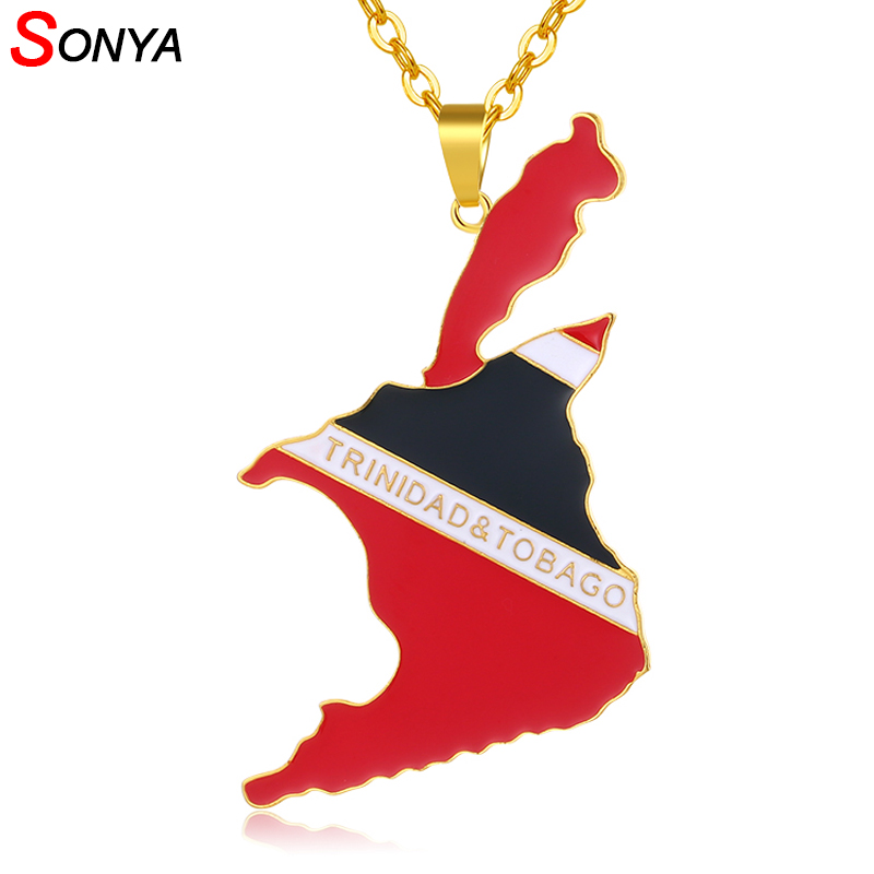 Elegant-Store-A Flag and Map of Togolaise Pendant Necklaces for Women Men Togo Maps Gold Color Jewelry