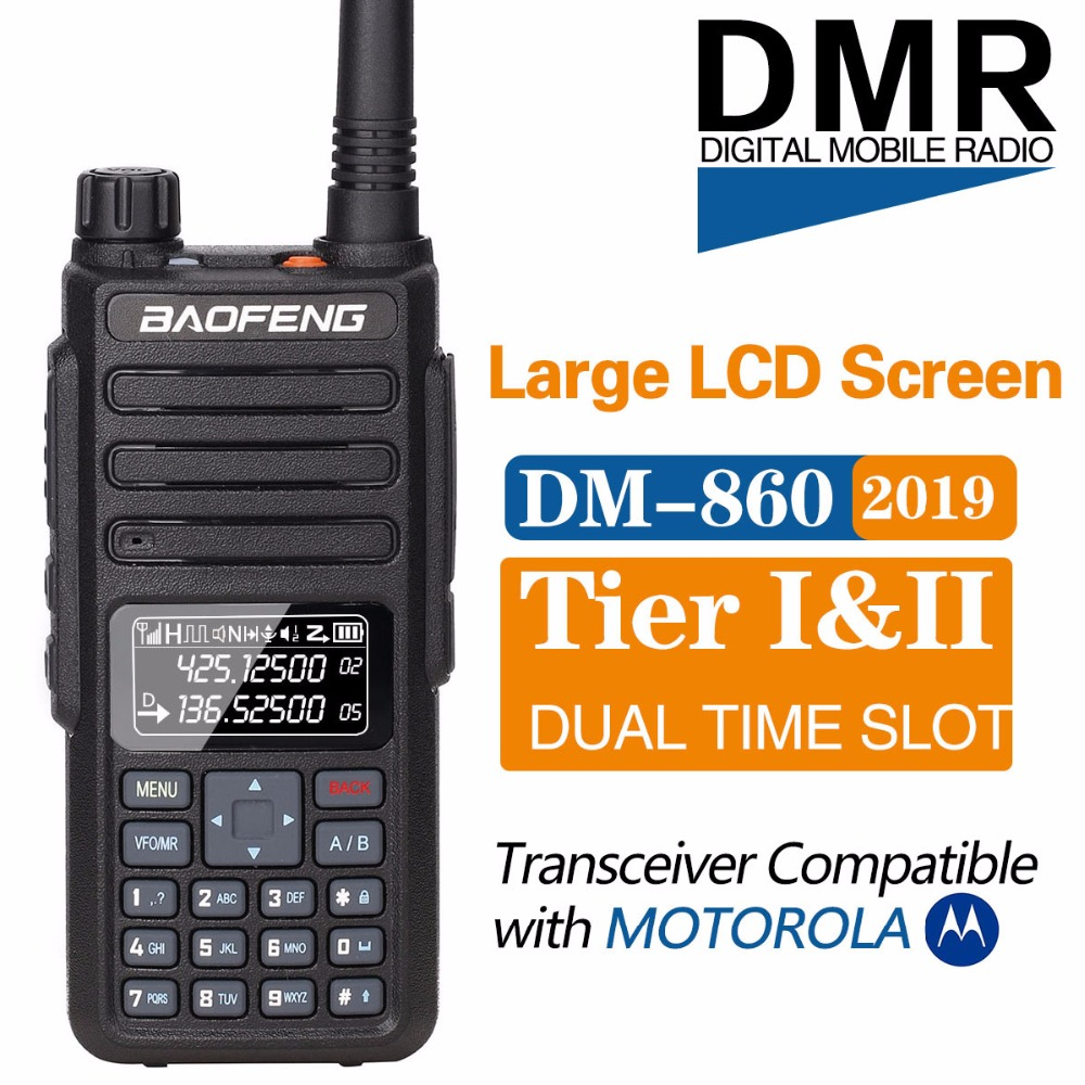 2019 Baofeng DM-1801 Digital Walkie Talkie DMR Tier1 Tier2 Tier II Dual Time Slot Digital  Radio Compatible With Motorola DM-860(China)