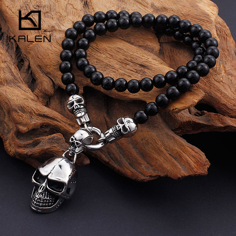 Kalen African Glass Beads Necklace For Men Stainless Steel Cross & Skull Pendant Necklace 47cm Beads Collar Choker Necklace 2017 equte pssm92c5 fashionable men s titanium steel glass pendant necklace blue silver