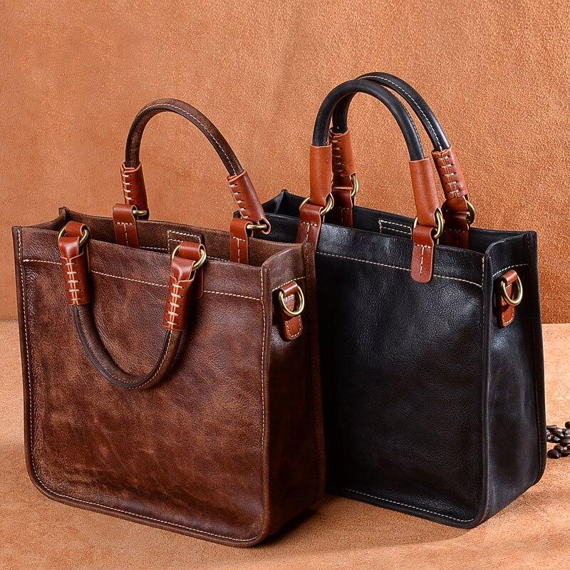 Difenise 100% Genuine Plane Tanned Leather Women Handbags Casual Tote Bags Vintage Style Handmade Shoulder Bags Original Design vintage casual handmade 100