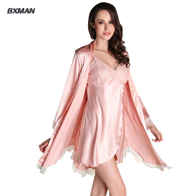 BXMAN Brand Women Robe Sets Imitated Silk Women Pajamas Sets 2016 Hot Sales Noble&Sexy Women Robe & Sets For Women Nightgown 288
