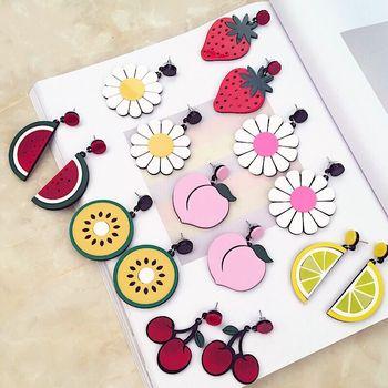Śliczne owoce kreskówka cytryna truskawka Kiwi brzoskwinia arbuz kwiat duże kolczyki ze sztyftami dla kobiet dziewczyn biżuteria ucha