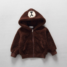 2016 new bear Plush hooded zipper Sweatshirts jacket children clothes baby boys girl outerwear kids winter