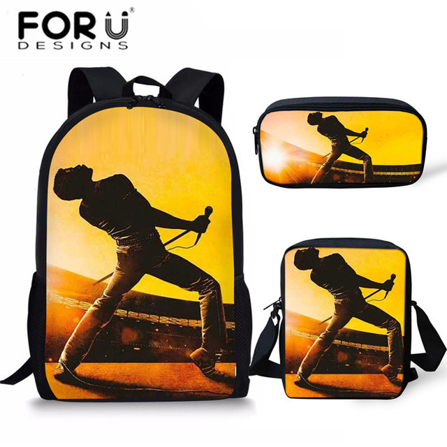 FORUDESIGNS 3Pcs/Set School Bags for Children Queen band Bohemian Rhapsody Printing Large Capacity Book Bag Boys Schoolbag Bolsa