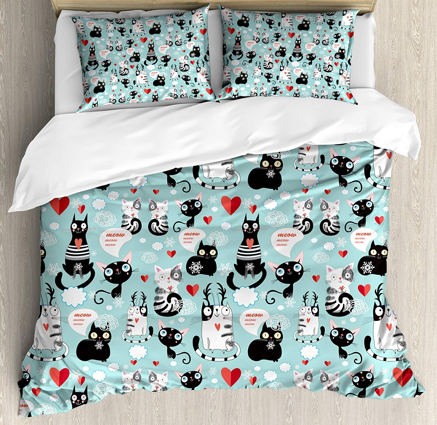 Cat Lover Duvet Cover Set Black and White Cats in Love Meow Print Among Hearts Daydreaming Kitties Cat Ears 3/4pcs Bedding SetCat Lover Duvet Cover Set Black and White Cats in Love Meow Print Among Hearts Daydreaming Kitties Cat Ears 3/4pcs Bedding Set