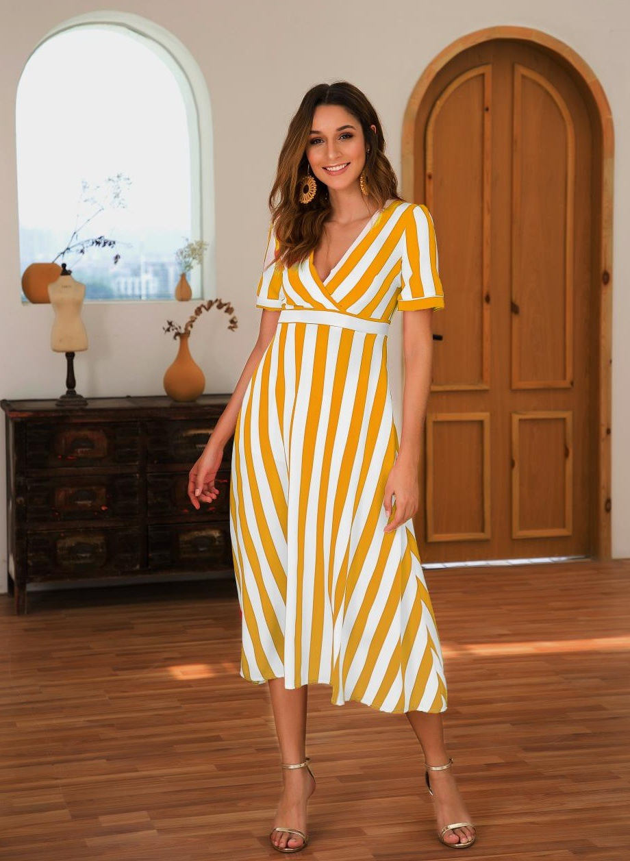 <font><b>2019</b></font> Summer maxi dress long V neck Stripped sexy yellow beach dress Woman beachwear <font><b>vestidos</b></font> <font><b>largos</b></font> de <font><b>verano</b></font> playa moda <font><b>mujer</b></font> image