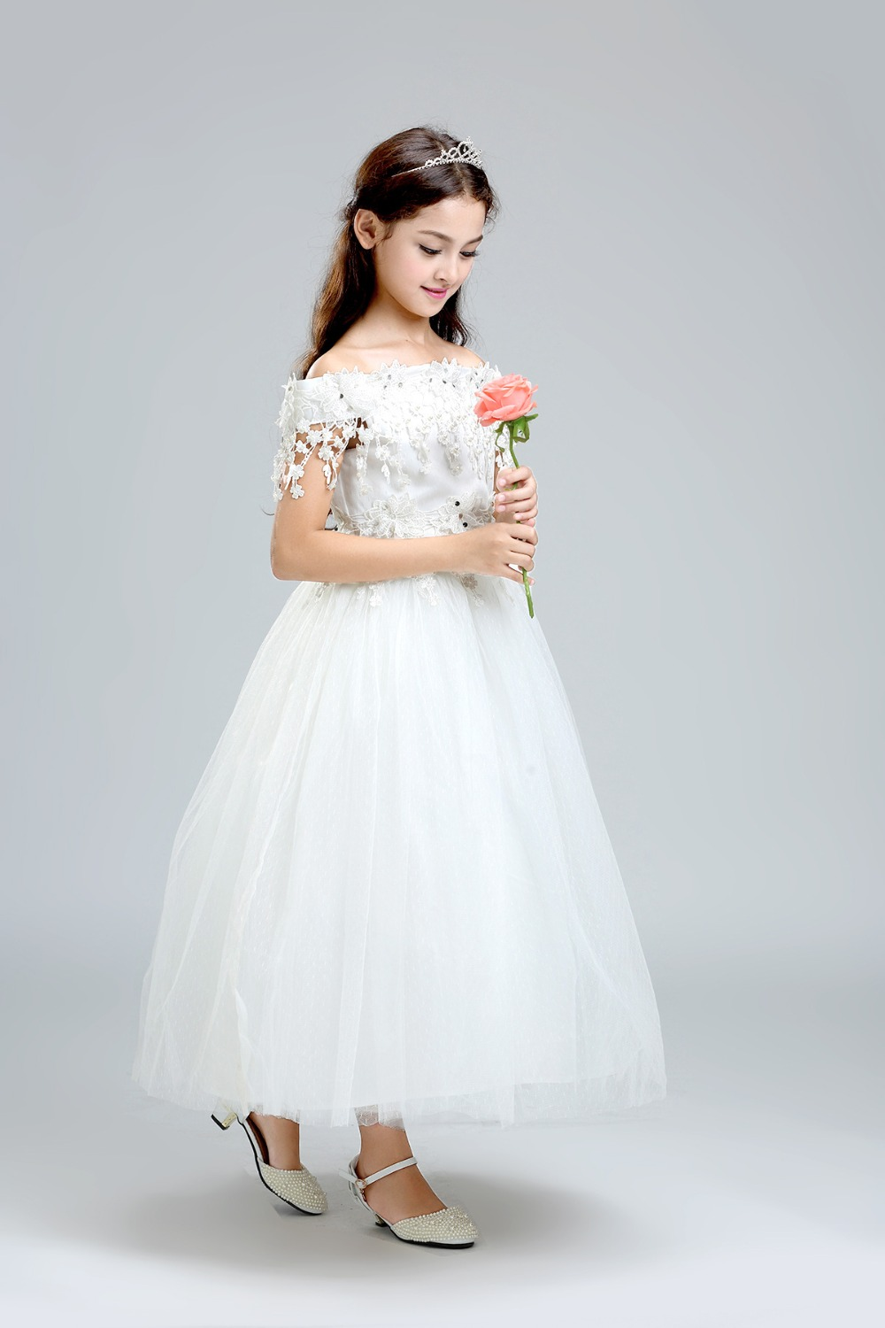 2016 White Lace Flower Girl Dresses For Wedding Ball Gown Off