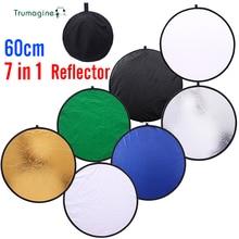 цена 24inch 60cm 7 in 1 Portable Collapsible Light Round Photography Reflector for Studio Multi Photo Disc Photographic Accessories онлайн в 2017 году