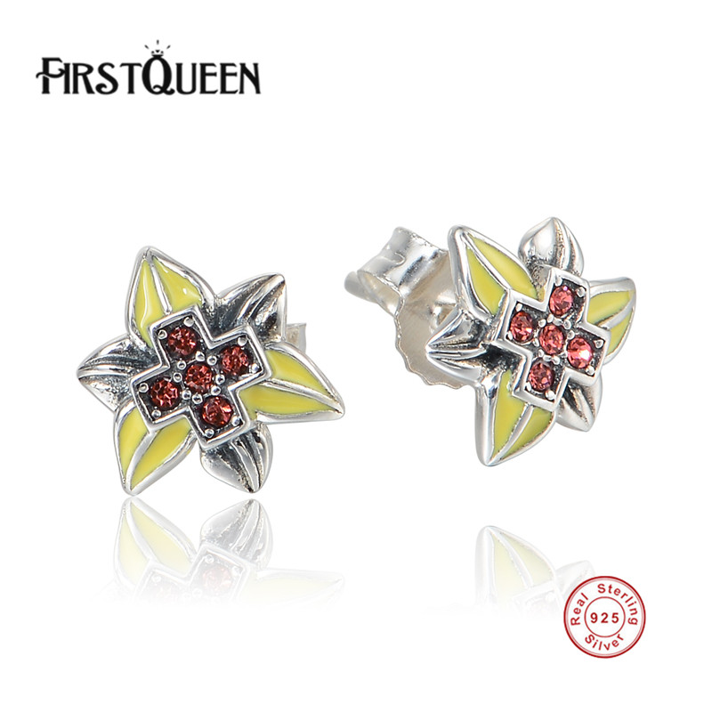 FirstQueen Presents 925 Sterling Silver Enamel Star Stud Earrings Austria CZ Compatible with Jewelry Special Store ...