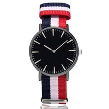 New Outdoor Sport Fashion Black Dial Canvas Nylon Cloth Strap Wrist Watch Men Quartz Watches Women Male Clock Relogio Masculino