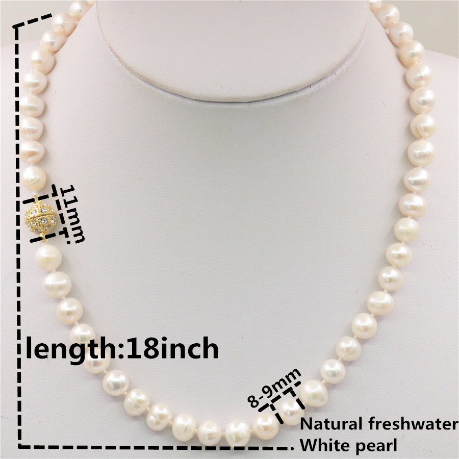"Charmant nouveau 8-9 mm blanc naturel Akoya Cultured Pearl Necklace 25/""AAA"