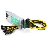 GPU Mining Power Supply Kit 1200W PSU, Breakout Board, 10pcs PCIe 6Pin Cables