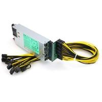 GPU Mining Power Supply Kit 1200W PSU Breakout Board 10pcs PCIe 6Pin Cables
