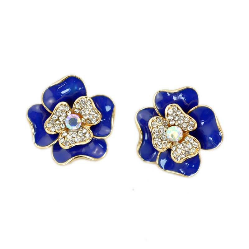 Birthday Gift Girls Favourite 6 Color Optional Brooch Pin Black Blue Red Pink White Purple Enamel 3D Metal Flower Collar Clip