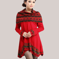 National style New Autumn Winters Low round Collar Bigger sizes Giving a scarf Irregular Sweater Knit dress Joker
