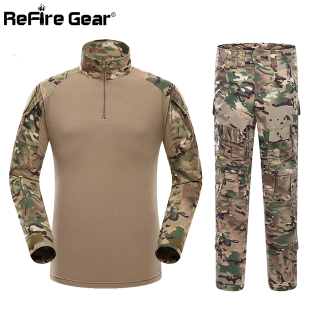 c0368008fb3270 US $59.24 25% OFF|ReFire Getriebe Camouflage Tactical Military Uniform  Kleidung Männer Paintball UNS Armee Kleidung Set Combat Shirt + Cargo Hosen  ...