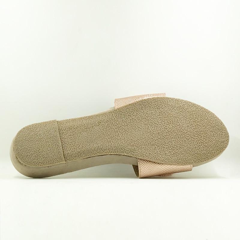 Nouveau 2018 chaussures de Style d'été femmes sandales mode or appartements Top qualité solide Sexy pantoufles taille 5-8 tongs - 4