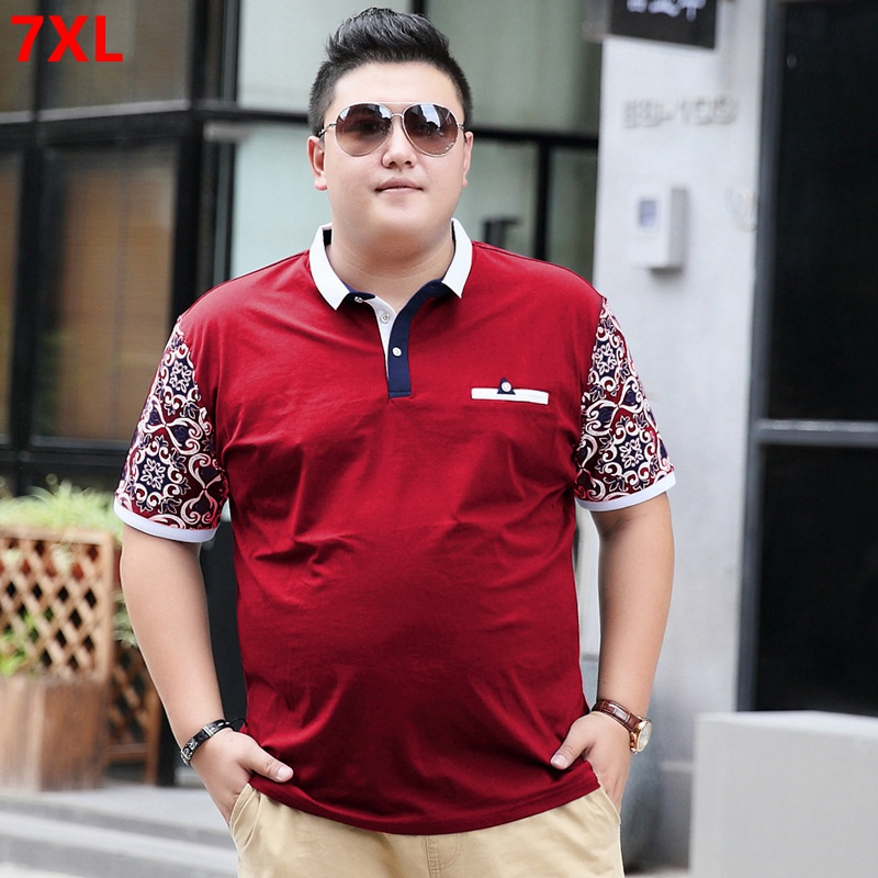 Large size men's   POLO   shirt short sleeve 7XLt shirt lapel Paul size tide brand big men's clothing 6XL 5XL
